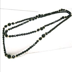 Black Glass & Crystal Beaded 40 inch Necklace